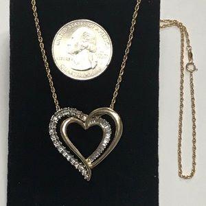 "Jewelry - Vintage 14K XL Diamond Heart on 16"" Rope Chain"
